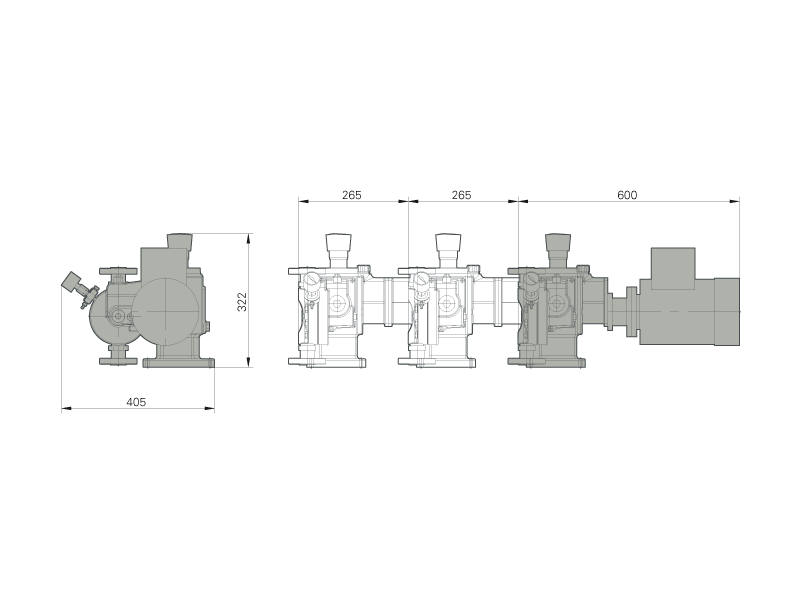 Assembly dimensions of LEWA ecosmart pump