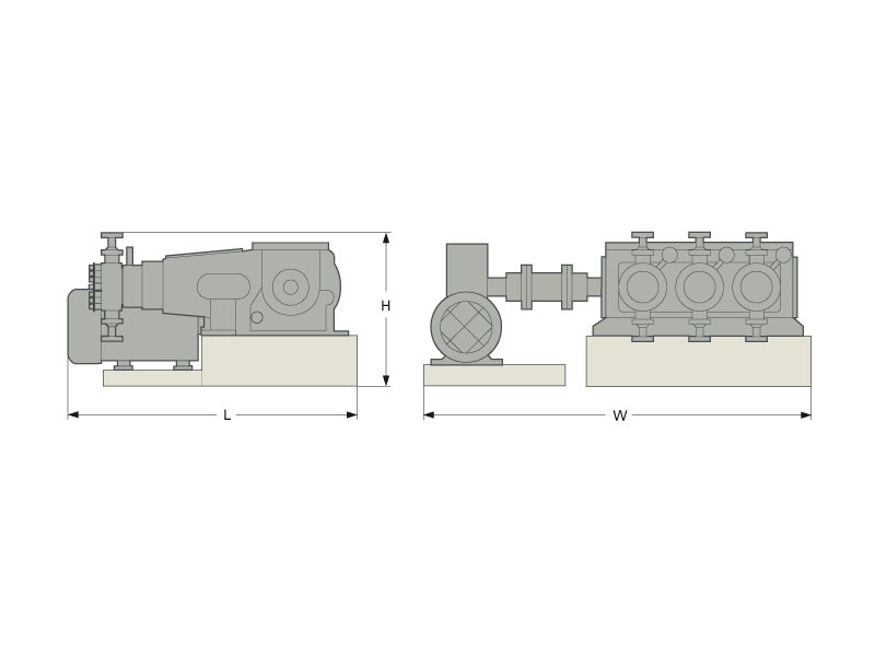 LEWA G3 U process pump dimensions
